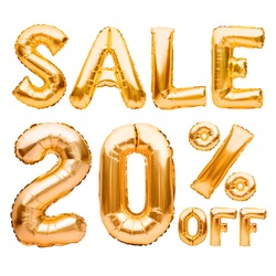 Golden twenty percent sale sign made of inflatable balloons isolated on white. Helium balloons, gold foil numbers. Sale decoration, black friday, discount concept. 20 percent off, advertisement.