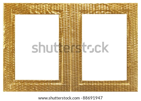 Golden twin photo frame over white background