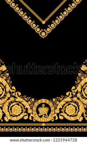 Golden Twisted Pattern With Baroque And Strip Black Background