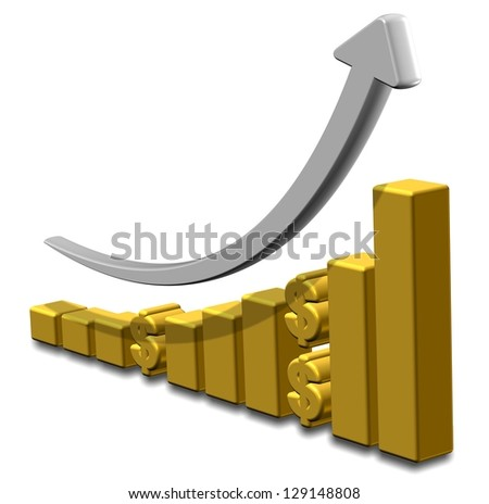 Golden upward chart with dollar symbols and an arrow / Investment chart
