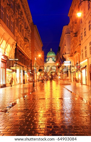 golden Vienna street at night