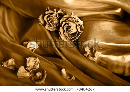 Golden vintage background. Rose on satin texture. Gold colored image