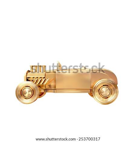 Golden vintage car on white background. High resolution.