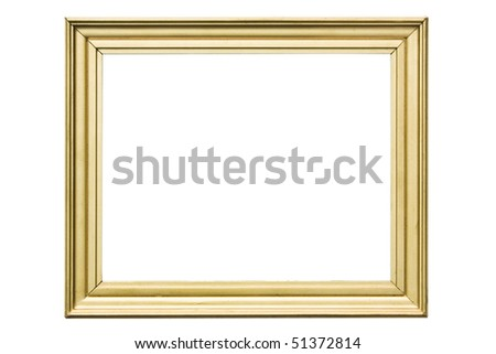 golden vintage wooden frame isolated on white