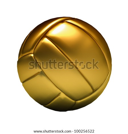 Golden volley ball on white background