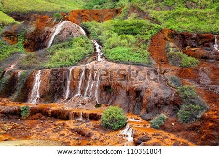 golden waterfall - stock photo
