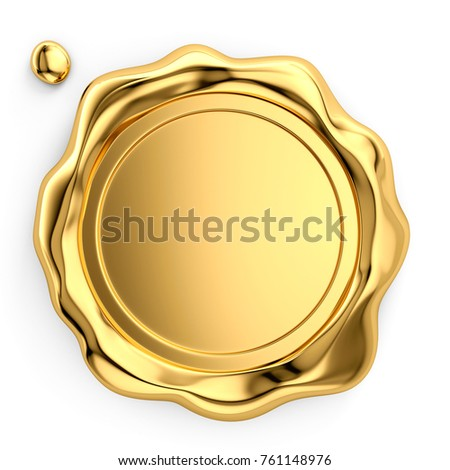 Golden wax seal on white background, 3d illustration