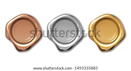 Golden wax stamp. Realistic letter label, 3d royal medieval certificate seal, quality guaranteed logo.  candle copper platinum wax seal