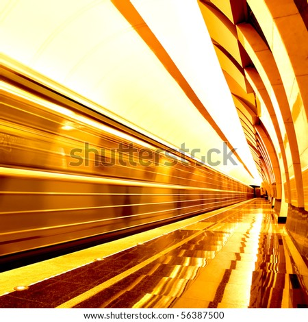 golden way of moving train in motion