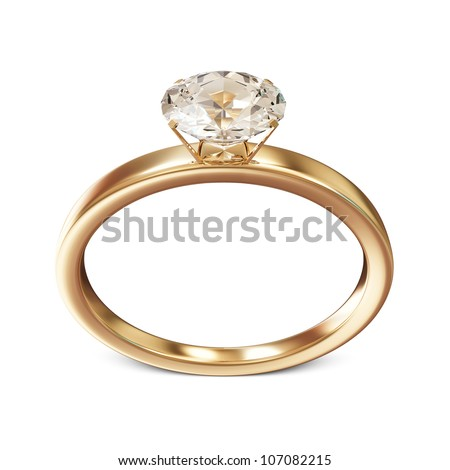 Golden Wedding Ring with Diamond isolated on white background