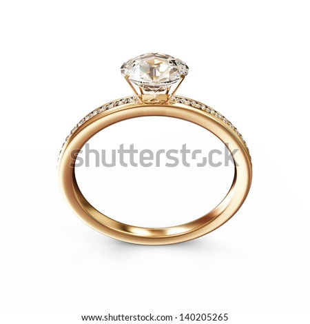 Golden Wedding Ring with Diamonds isolated on white background
