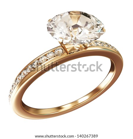 Golden Wedding Ring with Diamonds isolated on white background. (Animation for this image see in my footage gallery)