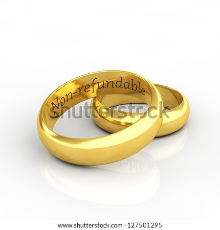 Golden Wedding Rings With Funny Engraving On White Background Stock Photo 127501295 Shutterstock