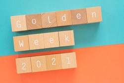 Golden week 2021; Fourteen wooden blocks with