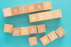 Golden week; Many wooden blocks with