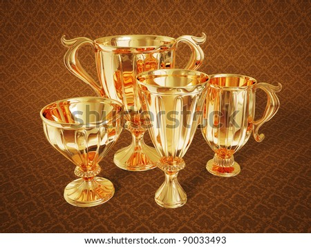 golden  winner cup isolated on a brown background.