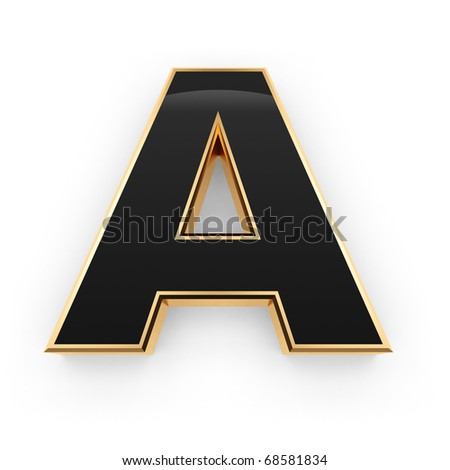 Golden with black letter A isolated on white background