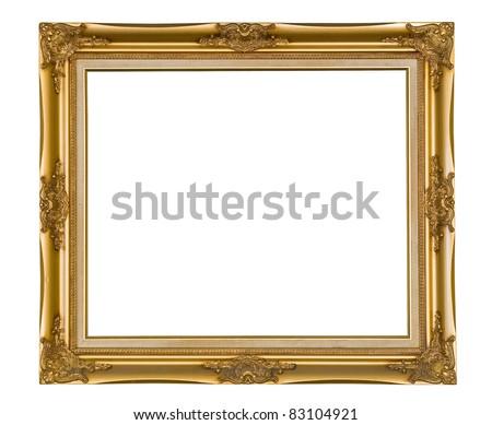 golden wood photo image frame isolated on white background