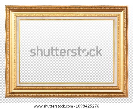 Golden wooden frame isolated on transparent background. #1098425276