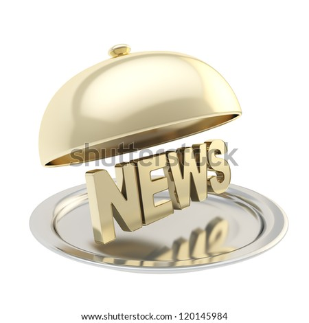 Golden word News on salver plate under chrome food cover isolated on white background