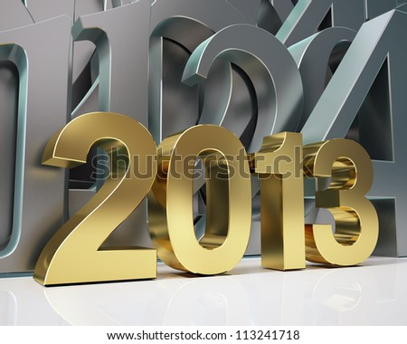 golden year 2013 and silver numbers - stock photo
