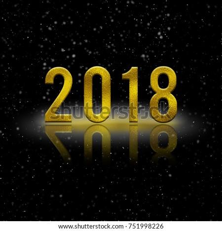 Golden Year 2018 black background  #751998226