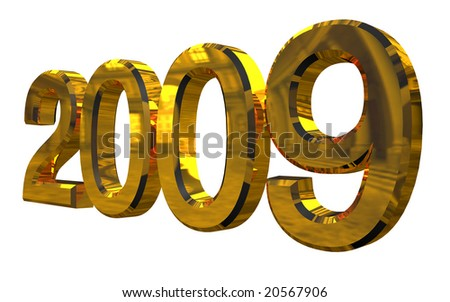 Golden 2009 year 3d render isolated on white
