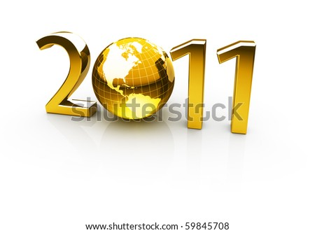 Golden year 2011 made up of numbers and globe as zero