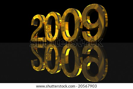 Golden 2009 year over a black reflective surface. 3d render