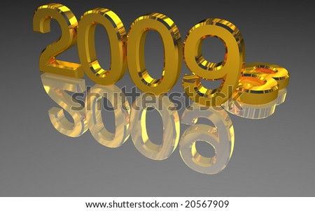 Golden 2009 year over a grey reflective surface. 3d render - stock photo