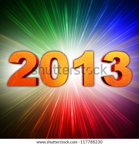 golden year 2013 with light rays over rainbow colorful background