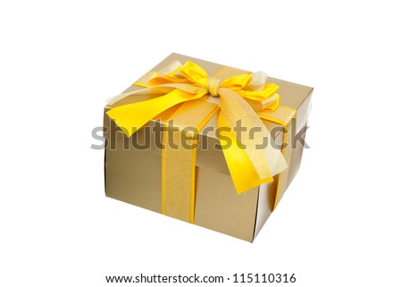 golden yellow gift box with ribbon bow isolated on white background, series photo different angle view gold present
