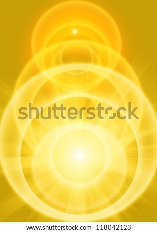 golden yellow light beams with receding orbs of light