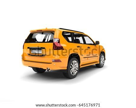 Golden yellow modern SUV - studio shot - back view - 3D Illustration