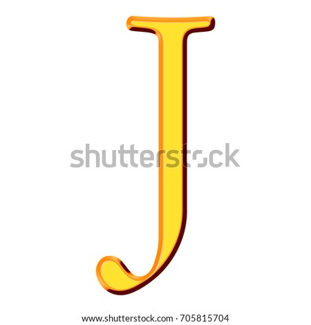 Golden Yellow Shiny Metallic Uppercase Or Capital Letter J In A 3d