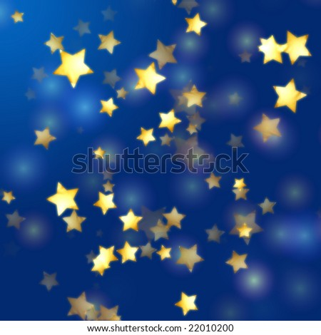 golden yellow stars over blue background with feather lights