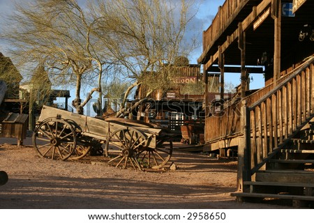 Goldfield Ghost Town, Apache Junction, Arizona; vintage wagon, historic hotel and saloon