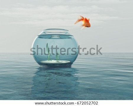Goldfish in a bowl jumping in the sea. This is a 3d render illustration stock photo