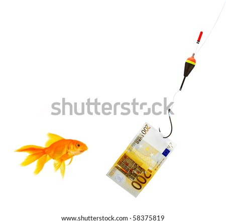 Goldfish in aquarium on white background