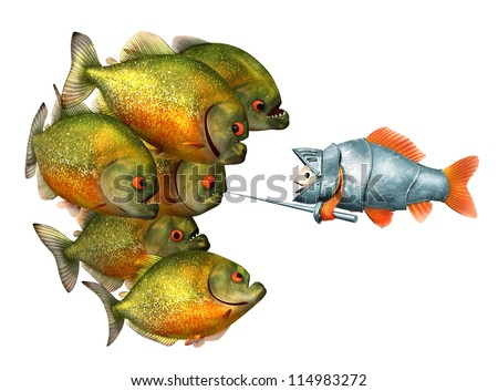 goldfish knight and piranhas, 3d with work-path