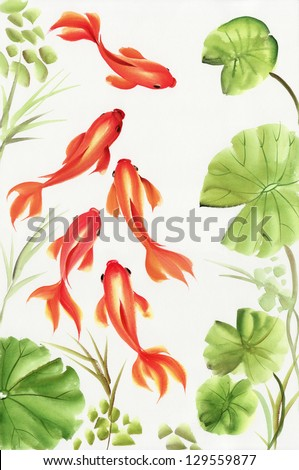 Goldfishes among the lotus leaves. Asian style original painting.
