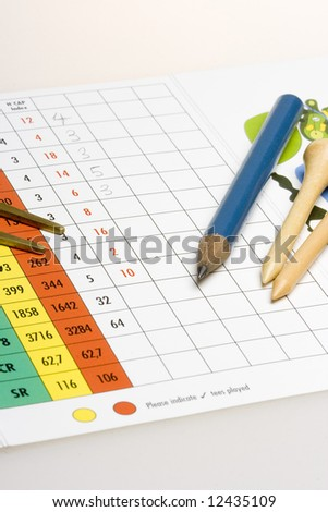 Golf accessories and pencil on a golf scorecard