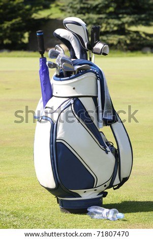 Golf bag on golf course