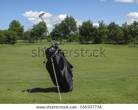 Golf bag with irons and putter sticking out near golf green