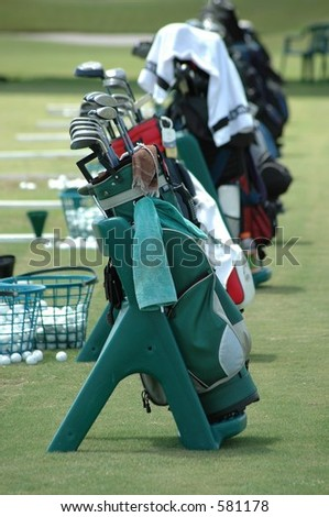 Golf bags at a golf school