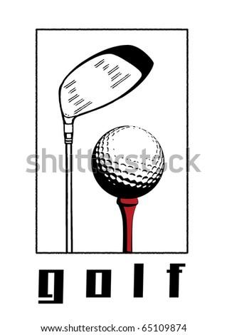 Golf ball and golf club illustration.