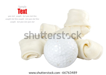 golf ball and Healthy dog treats Concept.