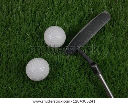 Golf ball and putter on green grass.