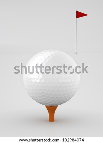 Golf ball and Red flag over White background.