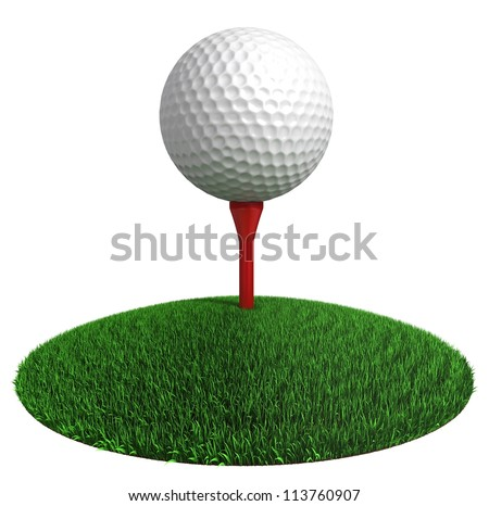 golf ball and red tee on green grass disc on white background. clipping path included